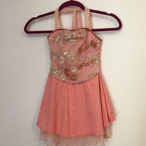 Peach fairy petite beaded dance dress costume-XS